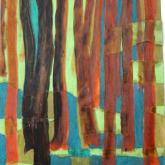stromy, koláž - barevný papír, pastel, tuž