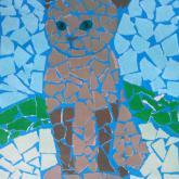 11 let, koláž podle Gaudiho (kočka)